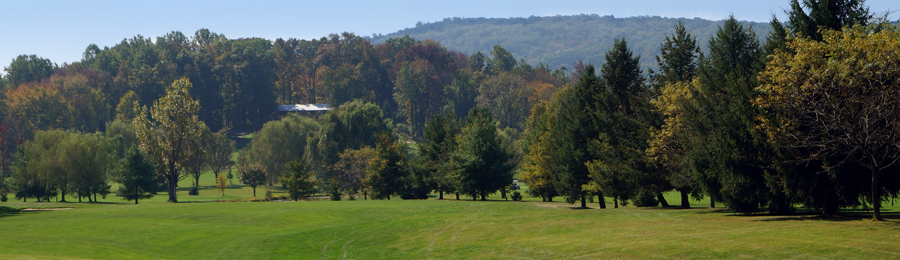 View of a mountain ridge beyond the course at Chapel Hill
