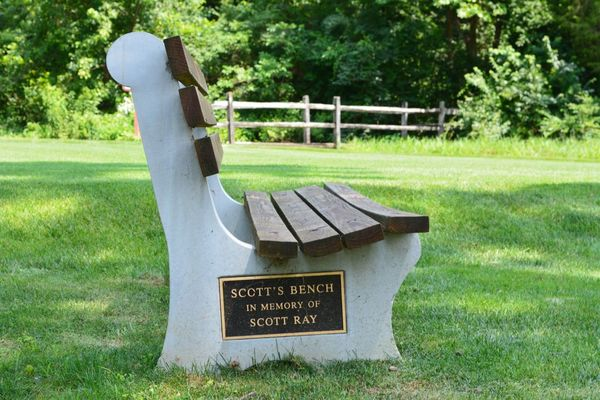 View of a bench dedicated to Scott Ray at Chapel Hill