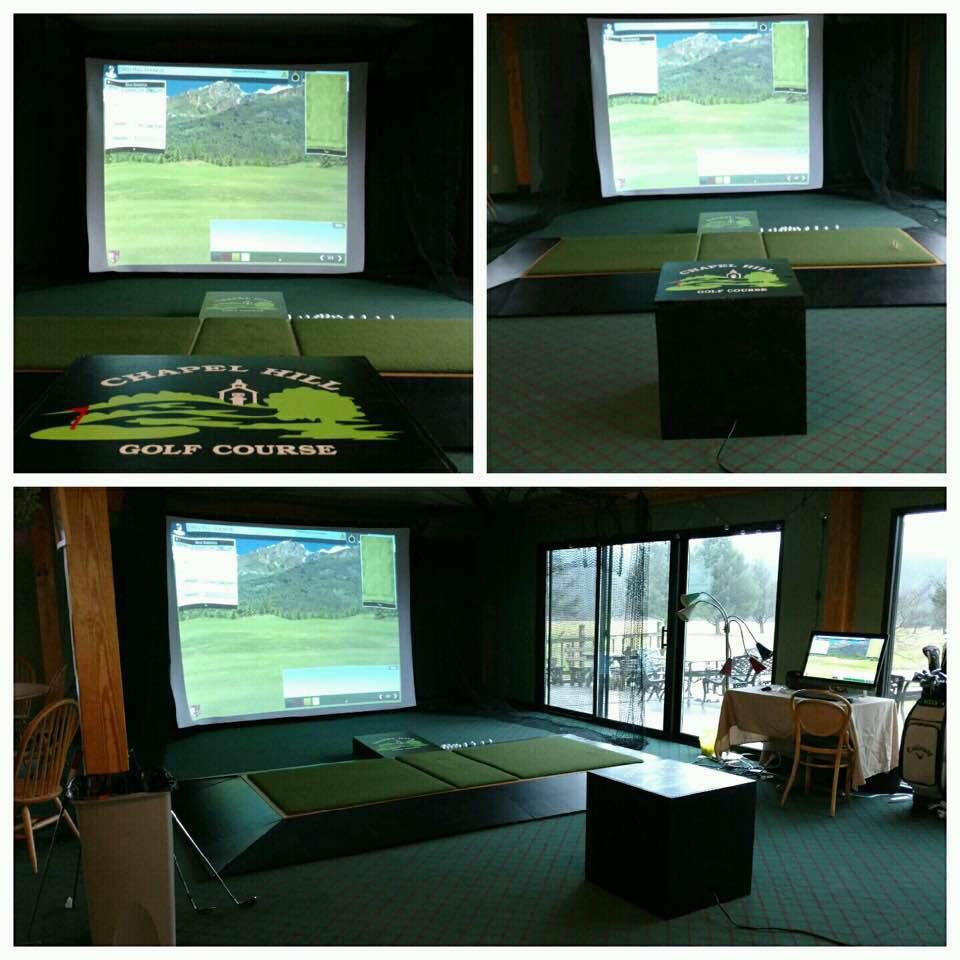 A collage of three different photos of the golf simulator at Chapel Hill Golf Course