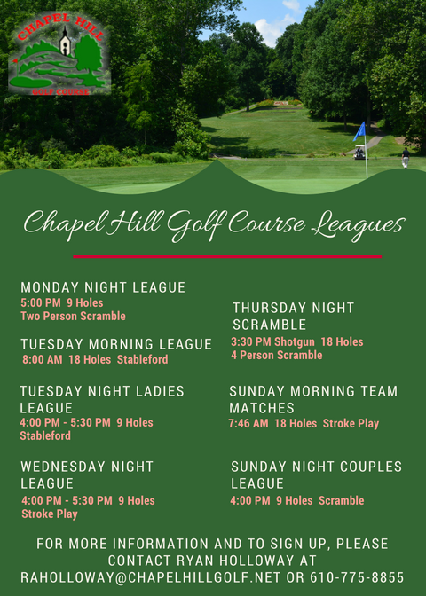 Chapel Hill Golf Course Leagues flyer